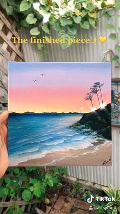 Cute Canvas Paintings, Canvas Painting Tutorials, Small Canvas Art, Diy Canvas Art, Beach Sunset Painting, Sunset On Beach, Sunset Acrylic Painting, Sunset Canvas, Sunset Art