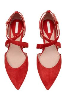 Suede ballet pumps with pointed toes, open sides and a wraparound ankle strap with covered elastic and a metal buckle. Women's Shoes, Me Too Shoes, Shoe Boots, Boy Shoes, Wrap Shoes, Flat Dress Shoes, Shoes Men, Ballet Shoes, Red Flats