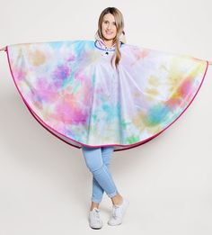 Colourful Tie-Dye Pattern Waterproof Poncho Cape - PonchU Waterproof Poncho, Rain Poncho, Tie Dye Patterns, Ballet Skirt, Skirts, Cape, Collection, Color, Fashion