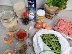 Kruidige gehaktballetjes met boontjes en rijst ingrediënten