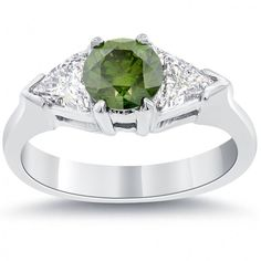 1.90 Carat Fancy Green Diamond Engagement Ring 14k White Gold - Green Diamond Rings - Color Rings