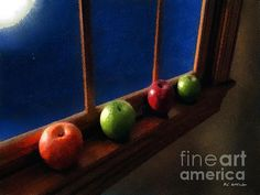 """Les Pommes de la Lune"" ~ © 2015 RC deWinter ~ All Rights Reserved Image Please, Beautiful Artwork, American Artists, Photo Art, Original Artwork, Cool Art, Mixed Media, Paintings, Invitations"