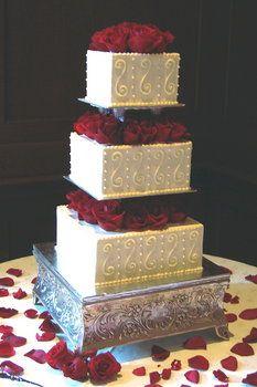 Cake, Red, Wedding, Roses, Square, Ivory, Buttercream