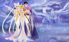 Queen Serenity (Usagi's Mom), Neo Queen Serenity (Sailor Moon/ Usagi/ Serena), Small Lady (Rini/ Chibi Usa) and King Endymion (Darien/ Tuxedo Mask). Such a lovely fan art :)