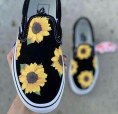 Vans Slip on Classic Sun Flower Custom Shoes Vans Shoes Fashion, Shoes Sneakers, Converse Shoes, Sunflower Vans, Custom Vans Shoes, Cute Vans, Aesthetic Shoes, Hype Shoes, Girls Shoes