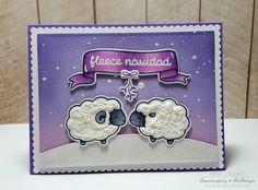 Crafty Time 4U: Lawn Fawn Baaah Humbug Sheep Fleece Navidad card by Heidi Criswell.