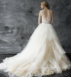 Classic tulle ballgown wedding dress; Featured Dress: CarouselFashion