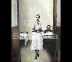 The Nurse, Original Painting, Hospital, Sick Bed, Medical History, Hospital Ward, Surrealism, Dark Art, Sickness, Sick Bed, Weird, Oddity by mygoodbabushka on Etsy