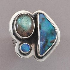 Exclusive Boulder Opal and Labradorite Ring by Tabra