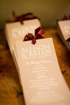 elegant taupe & burgundy tall programs for Alli & Brian in NYC . Brian Dorsey Studios on Style Me Pretty LBB blog
