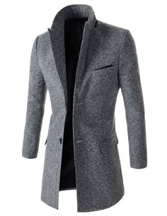 (OSC17-GRAY) Mens Slim Fit Peaked Lapel Single Breasted Chest Pocket 2 Button Coat