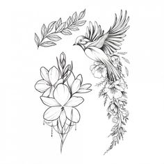Party Tattoo Tattoos Party Favor Fake Tattoo Flower Tattoo Bird T Bird And Flower Tattoo, Forearm Flower Tattoo, Small Forearm Tattoos, Fake Tattoos, Lower Back Tattoos, Flower Tattoos, Black Tattoos, Body Art Tattoos, Small Tattoos