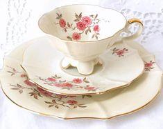 footed tea cup trio pink floral tea cup Alka tea cup tea cups and saucers Bavarian porcelain Alka floral tea cup