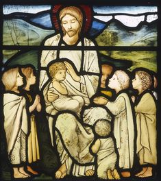 Christ blessing the little children,19th century stained glass by Edward Burne-Jones from William Morris studio