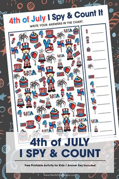 Your kids will love this fun of July I Spy & Count It Activity. A fun game that includes a counting activity. Great for home or school, your of July party or even while traveling in the car! IT super fun for kids of all ages. 4th July Crafts, Fourth Of July Crafts For Kids, 4th Of July Games, Patriotic Crafts, 4th Of July Celebration, 4th Of July Party, July 4th, February, Printables Organizational
