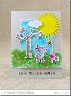 Sweet Forest Friends Stamp Set and Die-namics, Puffy Clouds Die-namics, Radiant Sun Die-namics, Stitched Valley Die-namics, Cross-Stitched Rectangle STAX Die-namics - Barbara Anders  #mftstamps