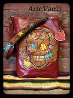 Leather sugar skull purse. Hand tooled by ArteVae.