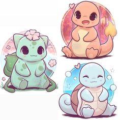 The 3 original starters Pokemon - naomi_lord Cute Kawaii Animals, Cute Animal Drawings Kawaii, Cute Drawings, Draw So Cute Animals, Charmeleon Pokemon, Lucario Pokemon, Bulbasaur, Pikachu Pikachu, Pokémon Kawaii