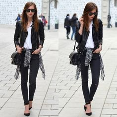 Barbora Ondrackova - Sheinside Jacket, Sheinside Blouse, Choies Blouse - BLACK, WHITE, GREY