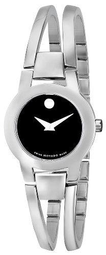 movado men s 0606610 museum stainless steel black leather and movado women s 604759 amorosa stainless steel bangle watch quality watches on