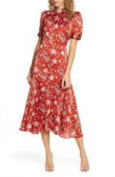 Women's Floral Satin Midi Dress, Size X-Large - Orange Modest Dresses, Fall Dresses, Casual Dresses For Women, Dresses For Work, Midi Dresses, Long Sleeve Work Dress, Short Sleeve Dresses, Satin Midi Dress, Floral Midi Dress