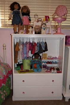 American Girl Doll Cabinet...made out of a 5-hole chest of drawers.