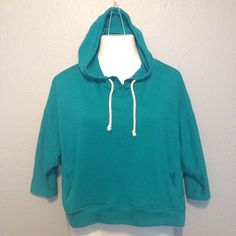 JUNIORS' HOODIE Stylish, turquoise hoodie perfect for wearing over a camisole or boybeater; 3/4 length sleeves, two front pockets Merona Tops Sweatshirts & Hoodies