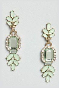 BM mint rhinestone earrings