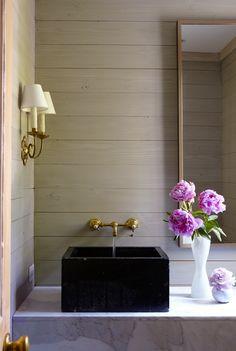 wood walls, marble, brass
