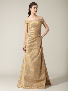 Why don't I have a destination for this gown. Reem Acra silk tulle metallic drape gown.