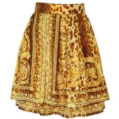Pre-owned Gianni Versace Wild Baroque Tiered Skirt Spring 1992 ($1,200) ❤ liked on Polyvore featuring skirts, brown skirt, versace skirt, tiered skirt, baroque skirt and silk skirt