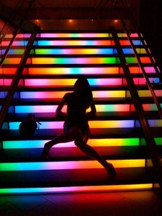 rainbow staircase is in St. (The Moonrise Hotel) Rainbow Aesthetic, Neon Aesthetic, Color Splash, Color Pop, Art Madrid, Orange Pastel, Stairway To Heaven, Night Photography, Silouette Photography
