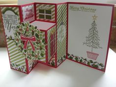 Christmas Tri-fold shutter card idea. For the Tri-fold shutter card Tutorial, go to >https://www.pinterest.com/pin/281123201711307216/