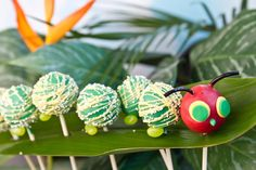 The Very Hungry Caterpillar cake pops