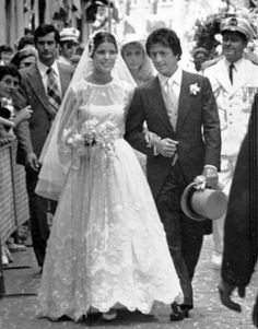 Princess Caroline of Monaco's first marriage was to Philippe Junot, a Parisian banker in 1978. She wore a gown by Marc Bohan at Christian Dior.