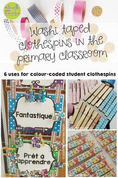 Maternelle avec Mme Andrea: Washi taped clothespins in the primary classroom (6 uses for colour-coded student clothespins)