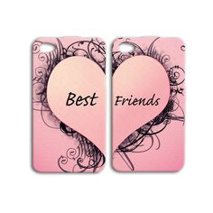 Pink Best Friends Cute Pretty Heart Pair Cover iPhone Case 4, 4s, 5, 5s, 5c