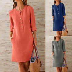 Fashion Womens Cotton And Linen Round Neck Solid Long Sleeve Button Pocket Dress Chic Fashionista, Straight Dress, Necklines For Dresses, Casual Street Style, Classy Dress, Simple Outfits, Shirt Dress, Womens Fashion, Long Sleeve