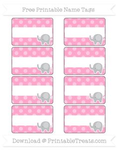 Free Carnation Pink Dotted Pattern Elephant Name Tags