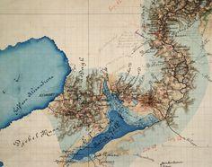 Syrien-Bagdad | Josef Černik | Karte seiner Expedition nach Bagdad | farbige Handzeichnung 1872 (Ausschnitt)  Forschungsbibliothek Gotha | Sammlung Perthes