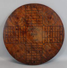 Antique American Folk Art Pawtucket RI Inlaid Wood Round PARCHEESI Gameboard