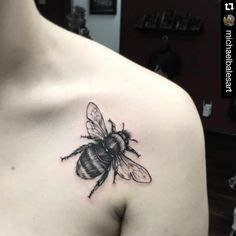 Bee tattoo on shoulder by Michael Bales