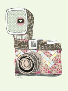 Whimsical vintage camera illustration by South African illustrator Nicole Long aka Striped Flamingo   via The Design Tabloid