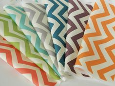 Skinny Chev from Mod Basics 2 organic cotton collection from Birch Fabrics: Orange Chevron for Baby Room