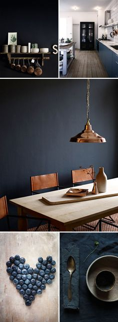 Moody & Mysterious Indigo Blue Interior Design - LOVE the Navy Blue and Copper! Dark Interiors, Colorful Interiors, Home Interior Design, Interior Decorating, Decorating Ideas, Decor Ideas, Home And Deco, Lofts, Interior Inspiration