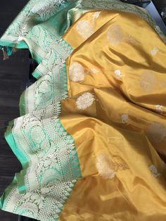 Pure Katan Silk Banarasi - Yellow Sea Green Antique Zari – Panache-The Desi Creations Indian Bridal Sarees, Wedding Silk Saree, Indian Bridal Outfits, Indian Designer Outfits, Designer Dresses, Silk Saree Banarasi, Pure Silk Sarees, Banaras Sarees, Cotton Saree Designs