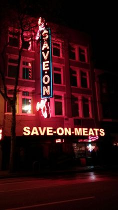 """""""Such a cool casual place, for the outside its a neon masterpiece - and the food. Downtown Vancouver, Neon Signs, Meat, Food, Beef, Meal, Essen, Hoods, Meals"""