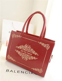 National Wind Printing Red Embroider Shoulder Handbag
