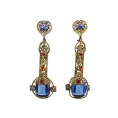 Pre-Owned 1920s Czech Dangling Jeweled Earrings ($215) ❤ liked on Polyvore featuring jewelry, earrings, jewel earrings, colorful jewelry, 1920s earrings, earrings jewelry and tri color jewelry
