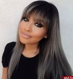 Silver platinum hair with Straight bangs....what you think??